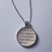 Mr H potter address recycled book page pendant necklace