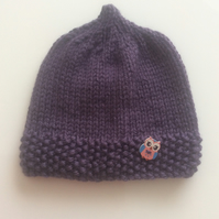 Hand knitted baby pixie hat