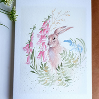 Hare and foxgloves card