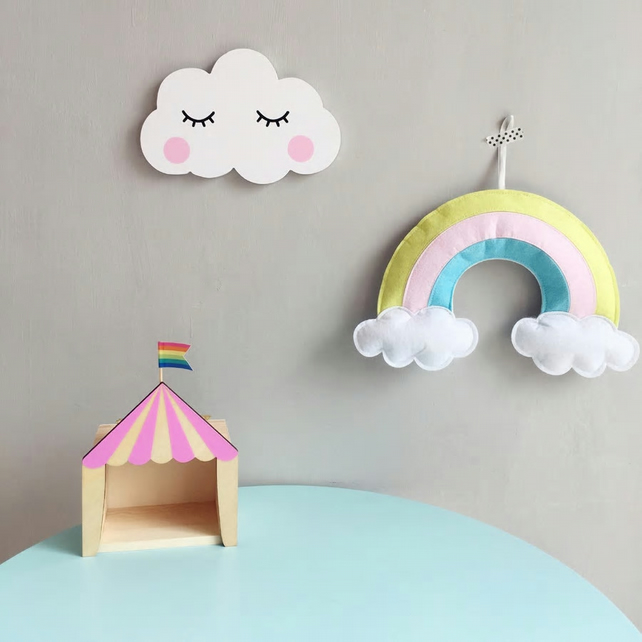 Handmade Pastel Felt Rainbow Wall Hanging Ideal for Nursery, Kids Bedroom