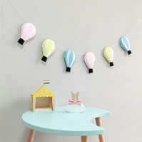 Handmade Pastel Felt Hot Air Balloon Wall Hanging Garland Ideal for Nursery