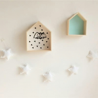 Handmade White Stars Garland Wall Hanging Ideal for Nursery, Kids Room