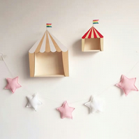 Handmade Pink & White Stars Garland Wall Hanging Ideal for Nursery, Kids Room