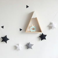 Handmade Black, White & Stripe Stars Garland Wall Hanging Ideal for Nursery