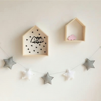 Handmade Grey & White Stars Garland Wall Hanging Ideal for Nursery