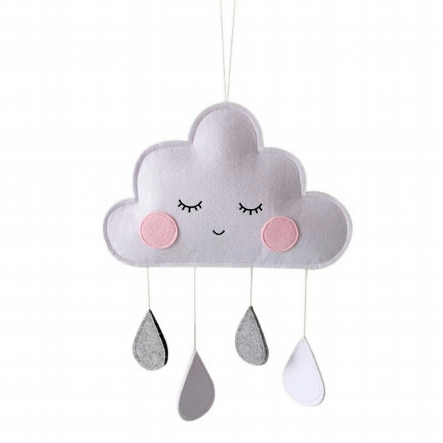 Handmade Blushing White, Grey Felt Cloud Wall Hanging Ideal for Nursery