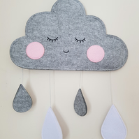 Handmade Blushing Grey, White Felt Cloud Wall Hanging Ideal for Nursery