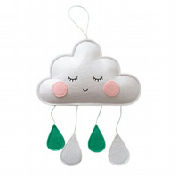 Handmade Blushing White, Green Felt Cloud Wall Hanging Ideal for Nursery