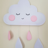 Handmade Blushing White, Pink Felt Cloud Wall Hanging Ideal for Nursery