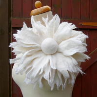 large flower brooch, corsage, oversized, felted flower, pin, white, wedding
