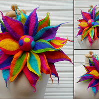 oversized felted flower brooch, pin, corsage, statement brooch