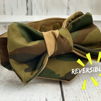 Camouflage dog bandana with a bow tie reversible