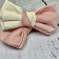 Pink dog bow tie , Pink & Ivory dog bow tie for wedding