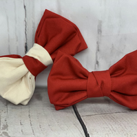 Red dog bow tie - Red & Ivory dog bow tie - Cute dog outfit