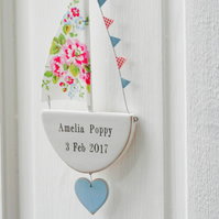 Personalised Hanging Floral Sailing Boat - Door Sign