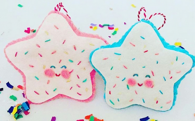 Kitsch sugar cookie felt ornaments