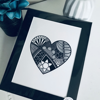 Loveheart Zentangle Print