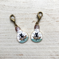 Cat progress keeper stitch marker set