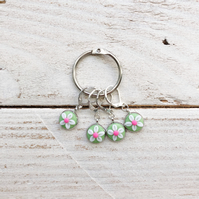 Lever back flower stitch markers