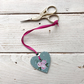 Hand painted rose scissor fob