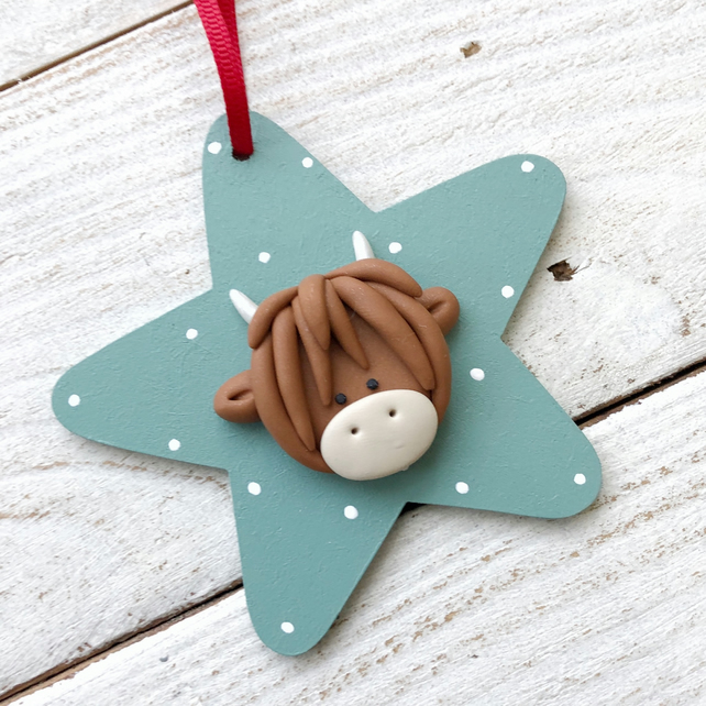 Duck egg highland cow star decoration