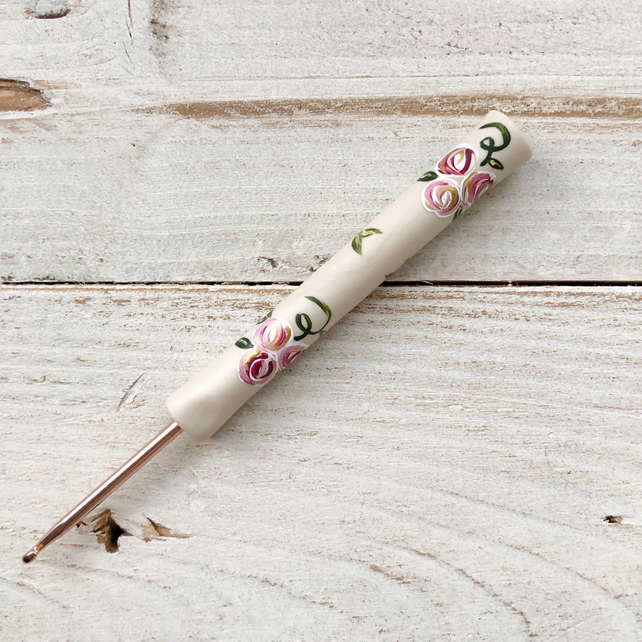Painted rose polymer clay crochet hook