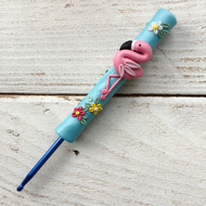 Polymer clay flamingo crochet hook
