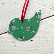Painted bird reusable Christmas tag