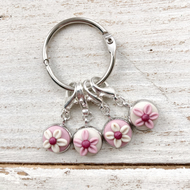Pastel flower stitch markers, progress keepers
