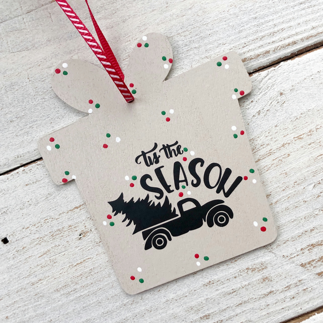 Wooden gift tag, large Christmas tree decoration