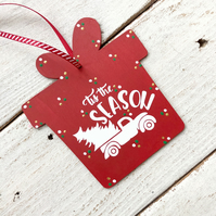 Hand painted wooden tag, oversized gift tag, Christmas decoration