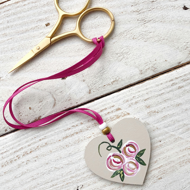 Painted rose embroidery scissor fob