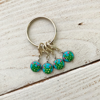 Hand painted cactus stitch markers, progress keepers