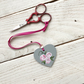 pink and grey rose scissor fob, hand painted scissor minder