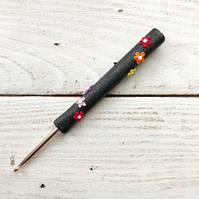 flower rainbow crochet hook, polymer clay crochet hooks