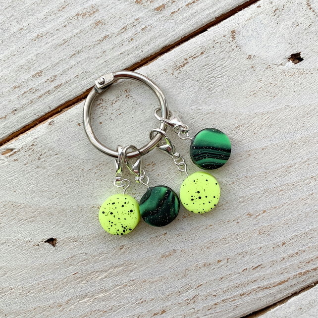 Bright neon stitch markers, progress keepers, crochet accessories