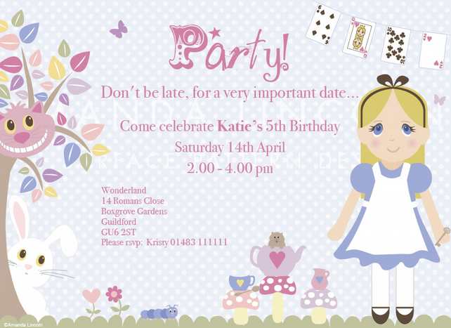 Digital, Printable Alice in Wonderland customized party invitation. 160x115m