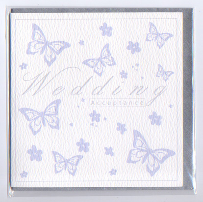 'Wedding Acceptance' blue Butterfly card BUTL