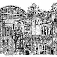 Art Print - Manchester Collage in Pen