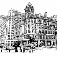 Deansgate, Manchester in Pen - Limited Edition Art Print