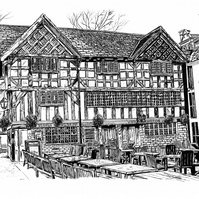 The Old Wellington Inn, Manchester in Pen - Limited Edition Signed Art Print