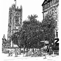 Manchester Cathedral in Pen - Limited Edition Signed Art Print