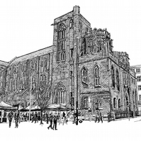 John Rylands Library in Pen - Limited Edition Signed Art Print