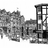 Shambles Square, Manchester in Pen - Limited Edition Signed Art Print