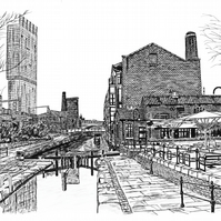 Castlefield, Manchester in Pen - Limited Edition Signed Art Print