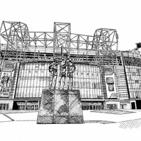 Old Trafford, Home of Manchester United - Limited Edition Signed Art Print