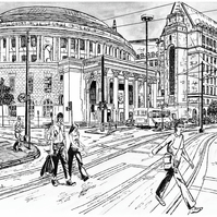 Manchester Central Library in Pen - Limited Edition Signed Art Print