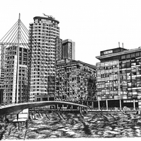 Media City, Salford Quays in Pen - Limited Edition Signed Art Print