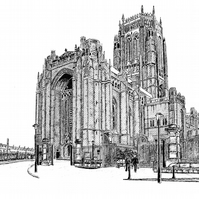 Liverpool Cathedral in Pen - Limited Edition Signed Art Print