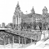Pier Head, Liverpool in Pen - Limited Edition Signed Art Print